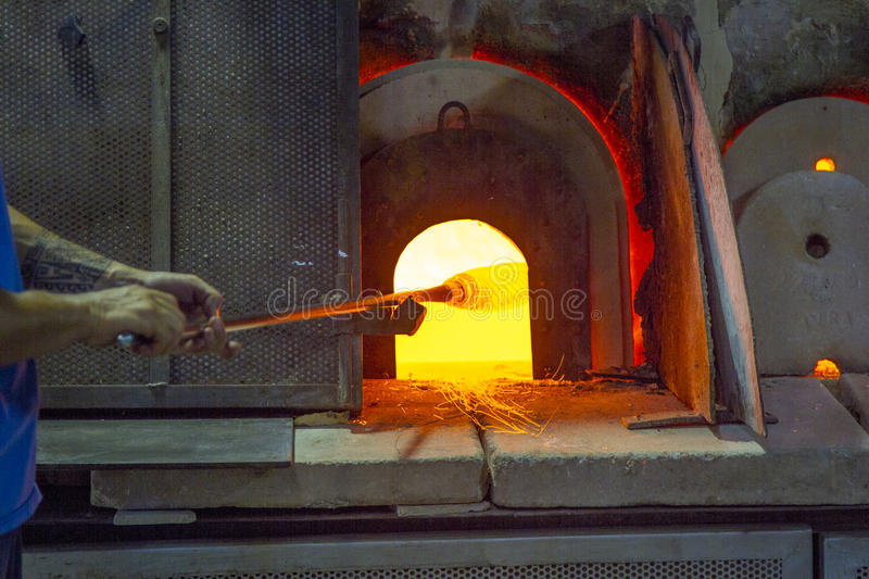 A Glass Kiln in Murano, Venice, Italy. A heated kiln for making glass on the island of Murano in Venice, italy stock photo