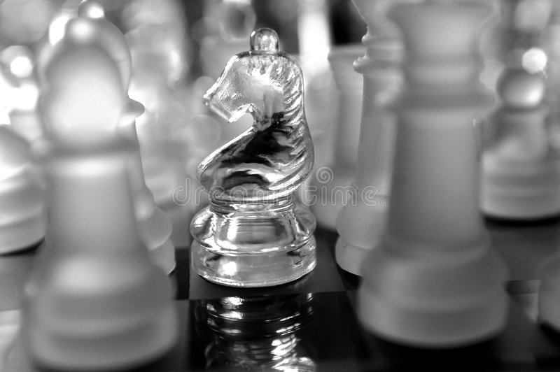 Glass Knight Chess Piece stock image