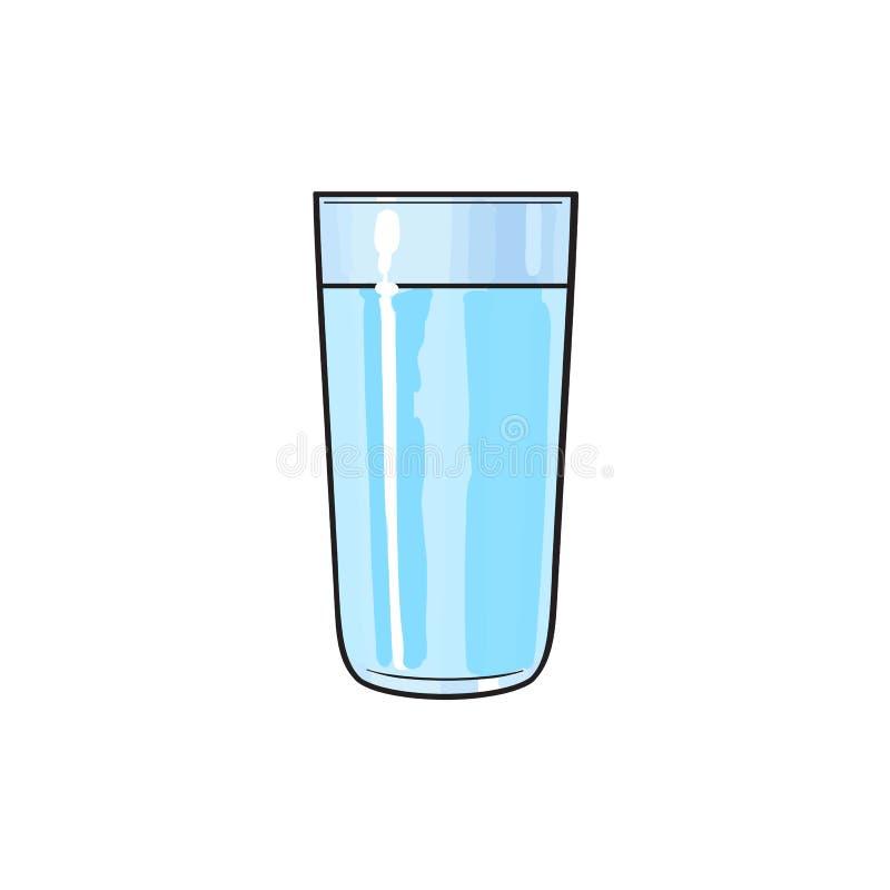 Glass kopp för vektortecknad film av kall sötvatten stock illustrationer