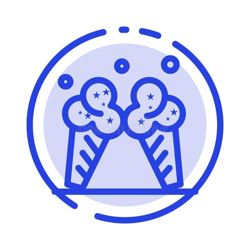 Glass is, kräm, amerikansk blå prickig linje linje symbol vektor illustrationer