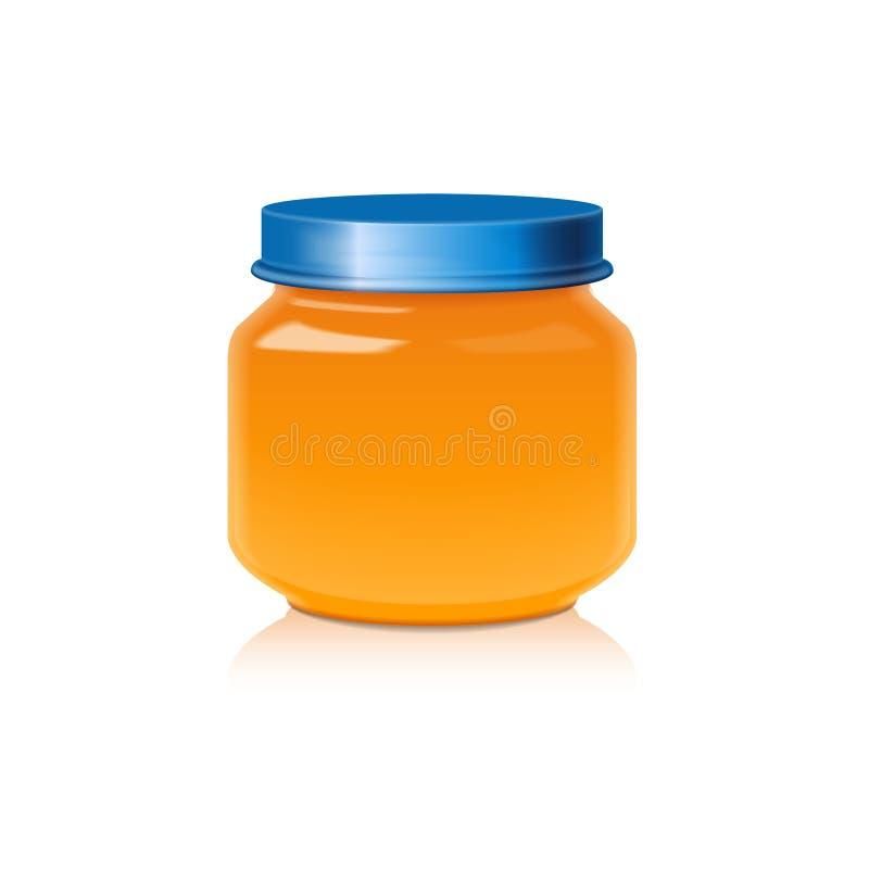 Glass krusåtlöje upp för honung, driftstopp, gelé eller behandla som ett barn matpuré stock illustrationer