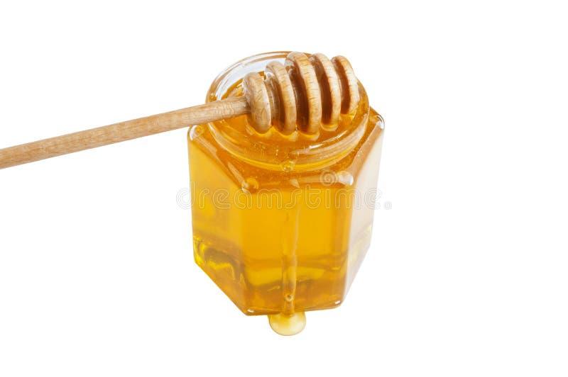 Glass krus av honung med trädrizzler royaltyfria foton