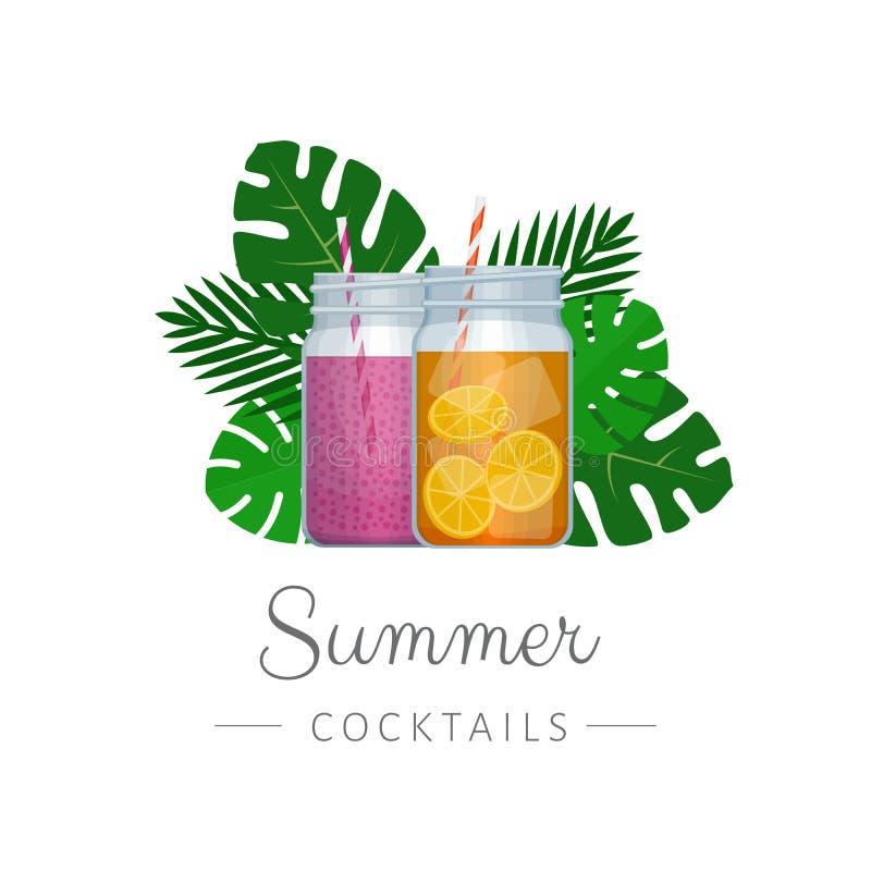 Glass krus för Smoothiemurare med tropiska palmblad Sund fitn royaltyfri illustrationer