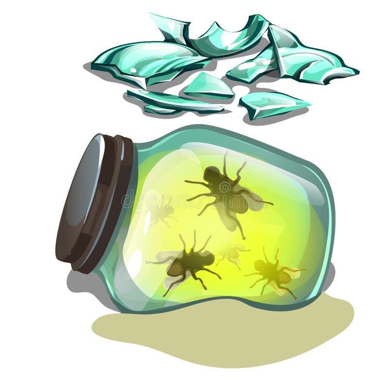 Glass krus med flugor som ligger i sanden Fragment av brutet exponeringsglas som isoleras på vit bakgrund Vektortecknad filmnärbi royaltyfri illustrationer
