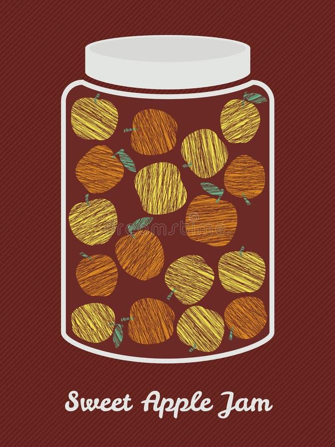 Glass krus med gula och orange äpplen Skördvykort Vecto stock illustrationer