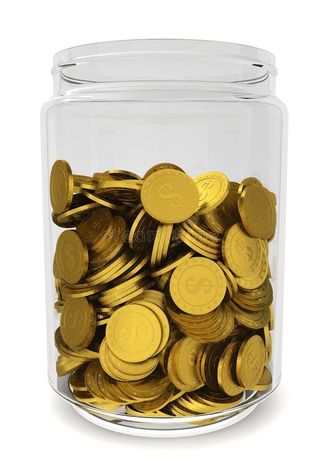 Glass krus med guld- mynt. Besparingbegrepp royaltyfri illustrationer
