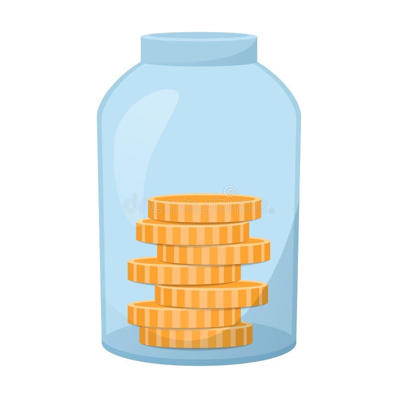 Glass krus med mynt inom, bank med pengar, sparande pengarvektorillustration stock illustrationer