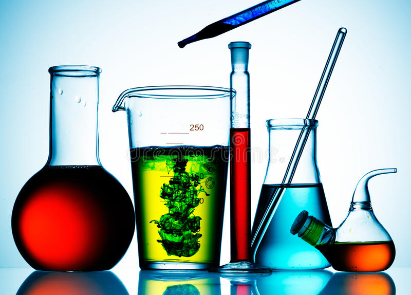 Download Glass Lab Beakers And Liquids Stock Photos - Image: 17285923