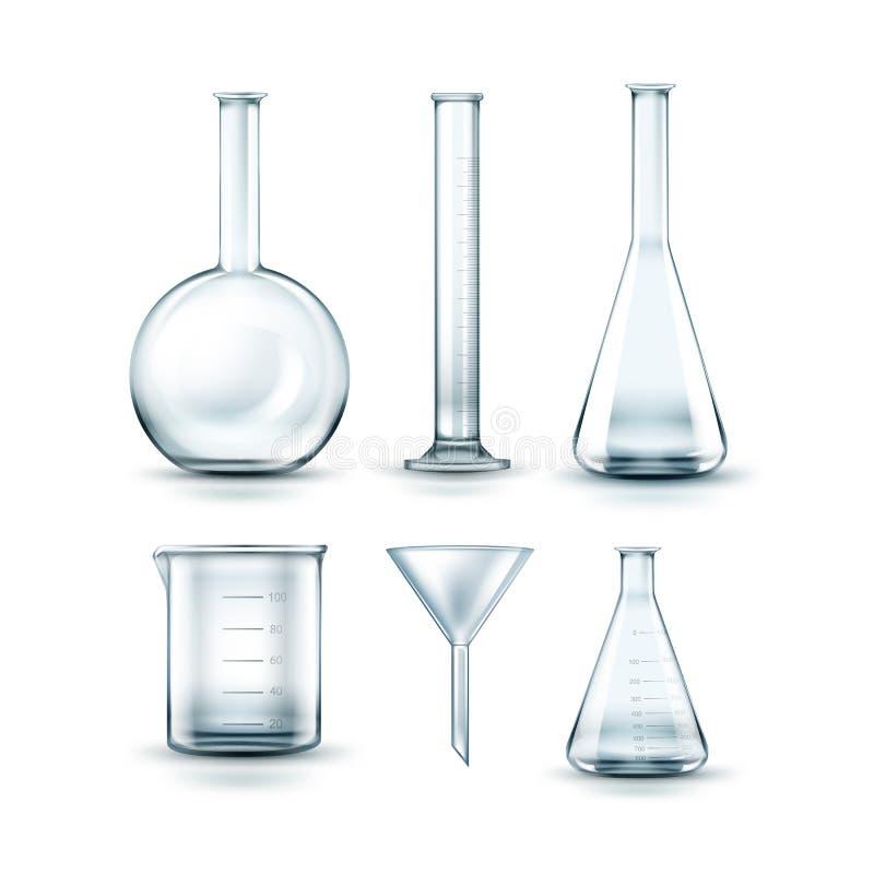Glass laboratoriumflaskor royaltyfri illustrationer