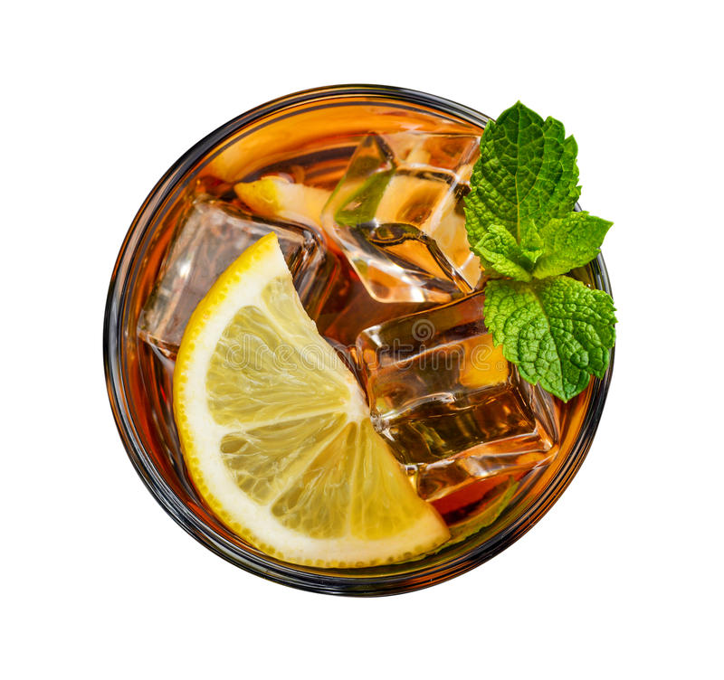 Glass of lemon ice tea stock images