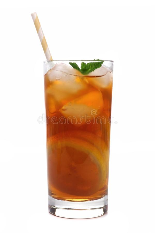 Glass of lemon iced tea with straw isolated on white. Glass of lemon iced tea with straw isolated on a white background royalty free stock photo