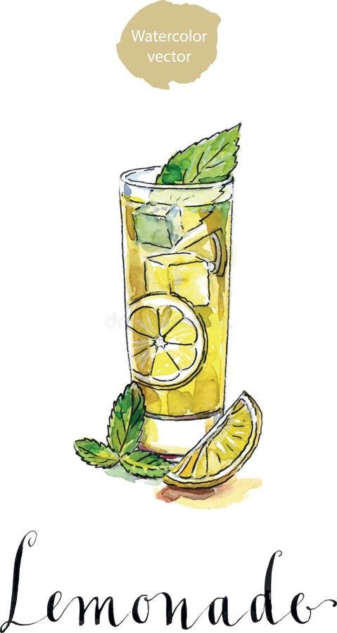 Glass of lemonade or lemon juice with ice cubes and sliced lemon stock illustration