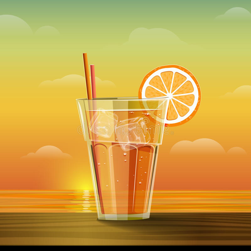 Glass with lemonade at sunset. Summer cold drink with slice of orange and ice cube. Summer sea and sunset background. Vector illustration stock illustration