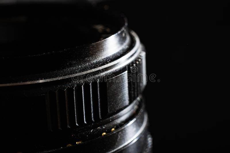Glass lens for a reflex camera close up royalty free stock image