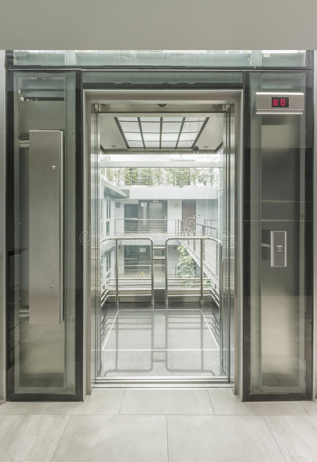 Glass Lift Stock Photo Image Of Building Elevator Concrete 34437090
