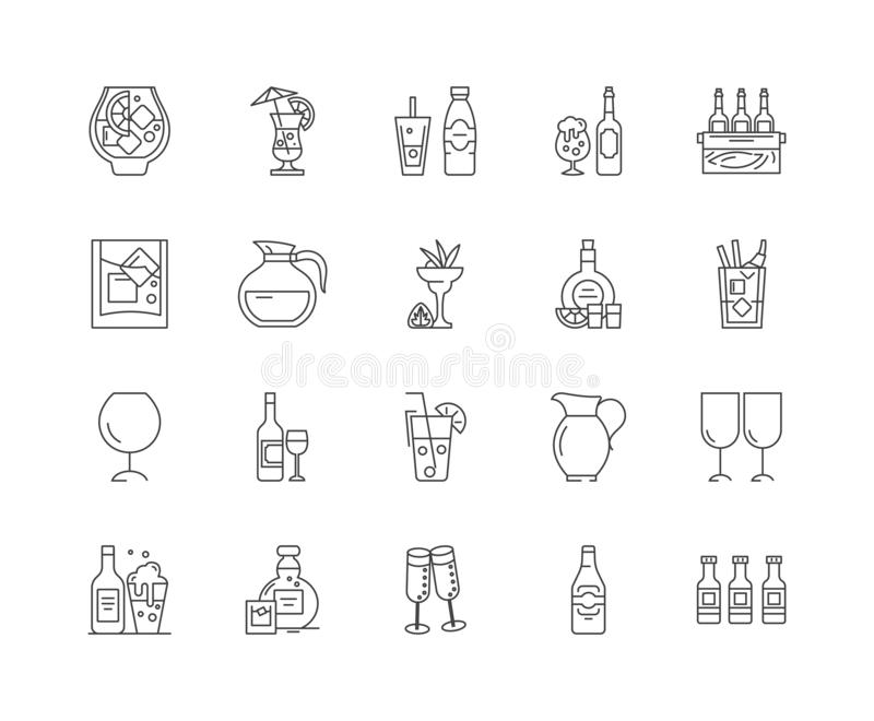 Glass line icons, signs, vector set, outline illustration concept. Glass line icons, linear signs, vector set, outline concept illustration vector illustration