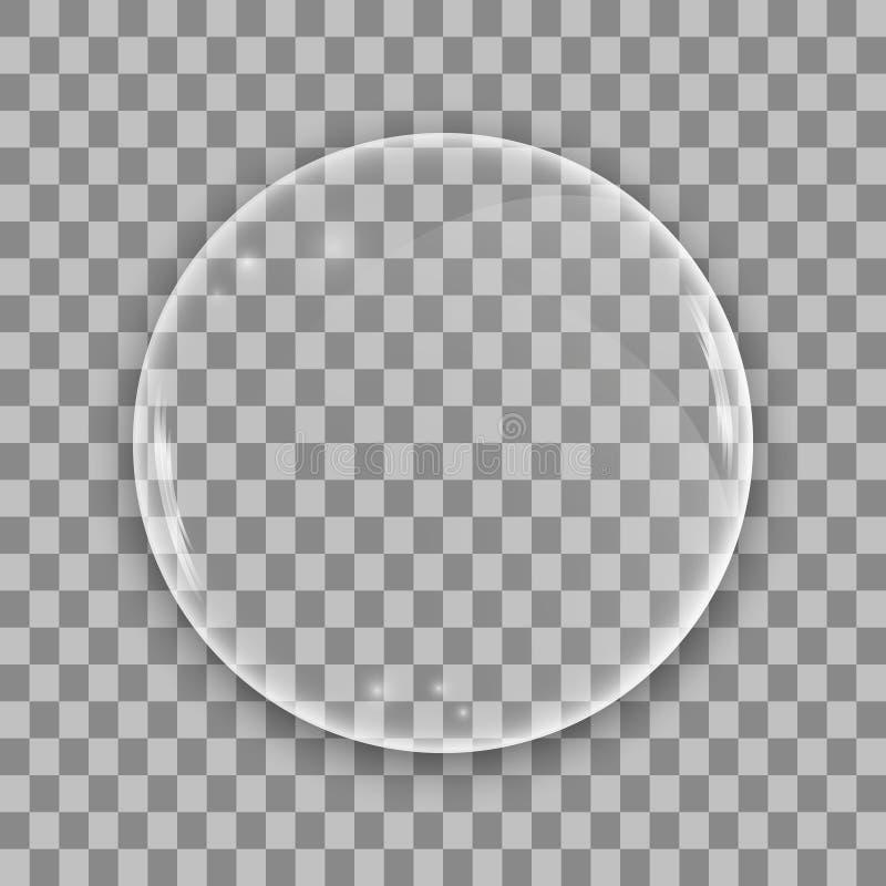Glass lins på genomskinlig bakgrund vektor illustrationer