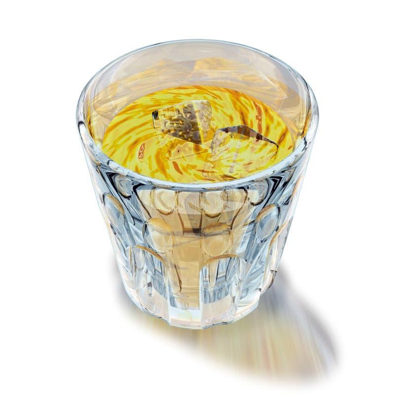 Glass of liquor. 3d illustration, glass of yellow liquor royalty free illustration
