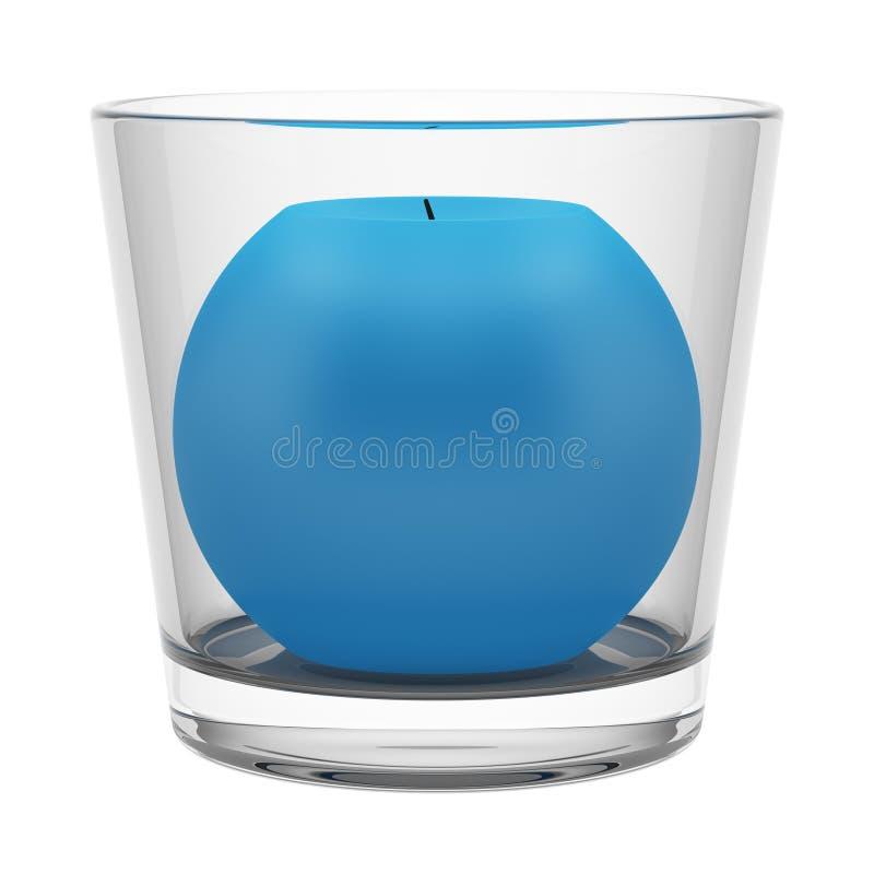 Glass ljusstake med blåttstearinljuset som isoleras på vit royaltyfri illustrationer