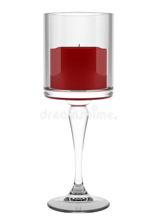 Glass ljusstake med den röda stearinljuset som isoleras på vit royaltyfri illustrationer