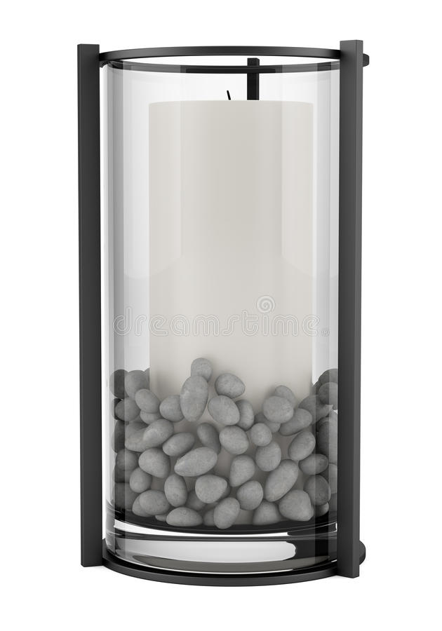 Glass ljusstake med stearinljuset som isoleras på vit royaltyfri illustrationer