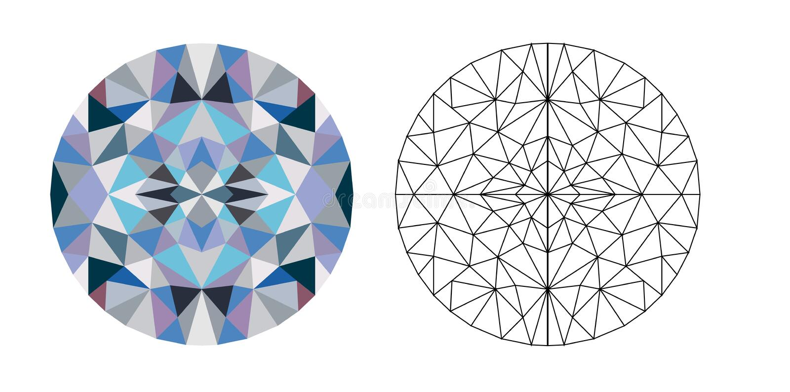 Glass, low poly circle, vector illustration royalty free illustration