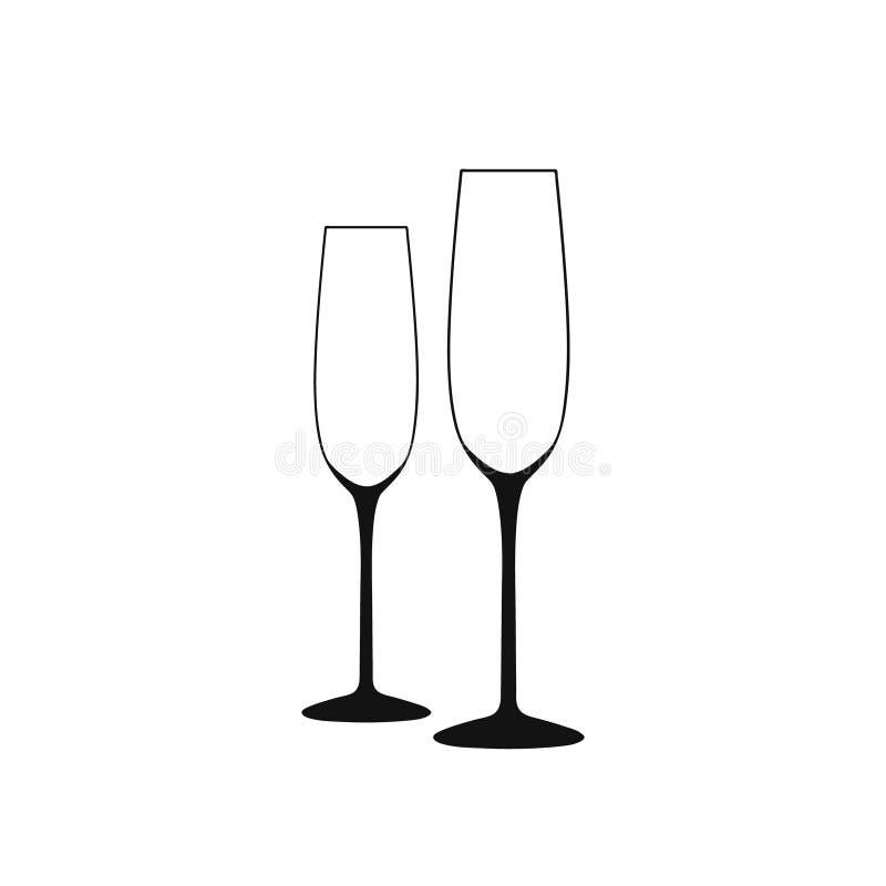 glass lunchwine för strand Vektor av vinexponeringsglas Långa tomma svartvita exponeringsglas royaltyfri illustrationer