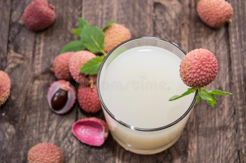 Glass with Lychee Juice royalty free stock photo