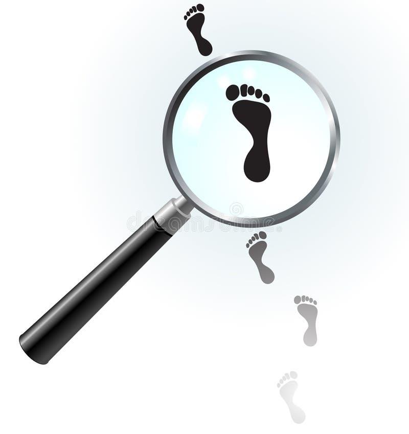glass mänsklig förstoring för fotspår under vektor illustrationer