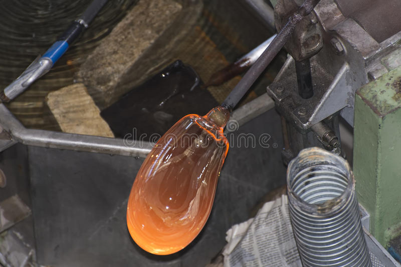 Glass making royalty free stock image