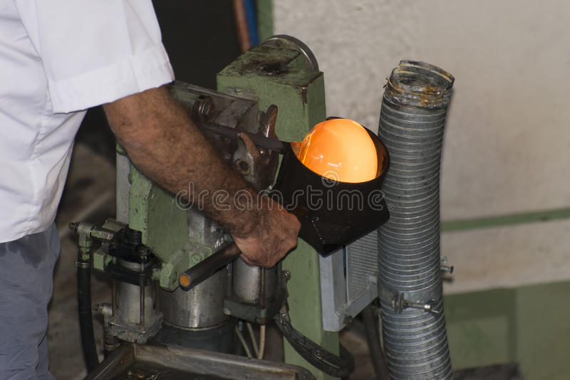 Glass making stock photos