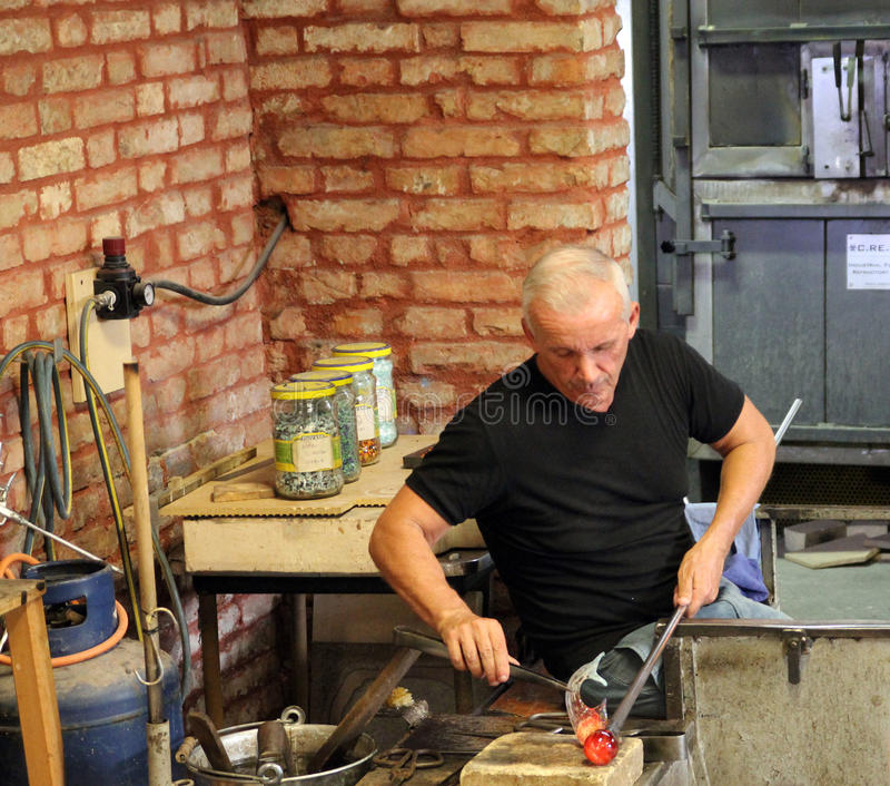 Glass Making. At glass factory on Murano island, Italy - April 02, 2016 royalty free stock photography