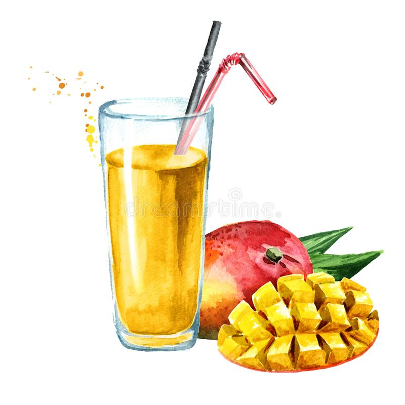 Glass of mango Juice with fresh mango fruit. Watercolor hand drawn illustration, isolated on white background. Glass of mango Juice with fresh mango fruit stock illustration