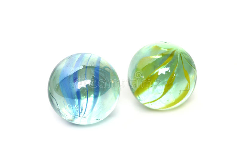 Glass marble ball. Isolated on white stock image