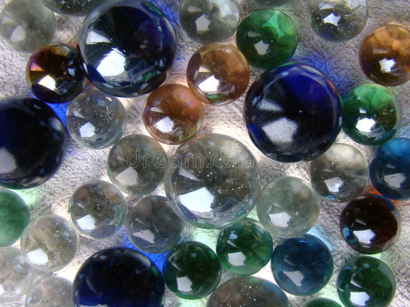 Glass marbles close up