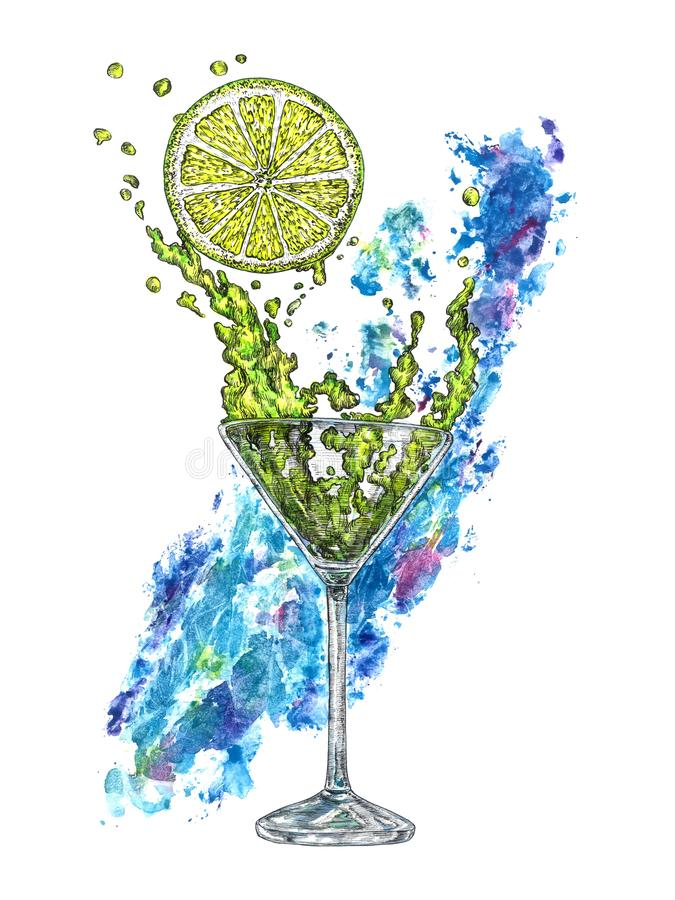 A glass of margarita cocktail and a piece of lemon with blue abstract paint splash on background, hand painted watercolor with ink vector illustration