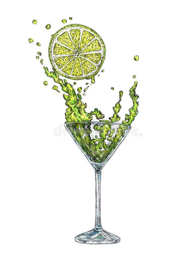 A glass of margarita cocktail and a piece of lemon, hand painted watercolor with ink. Drawing illustration vector illustration
