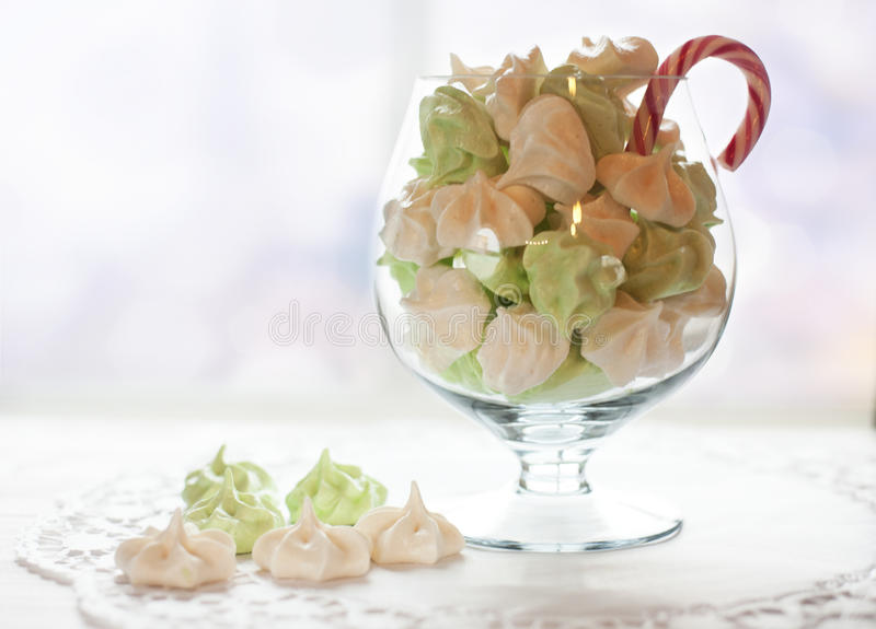 Glass with marshmallows royalty free stock images