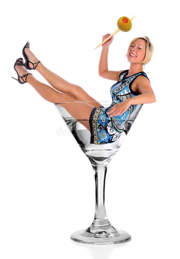 glass martini kvinna royaltyfri fotografi