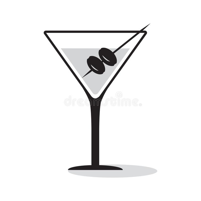 Glass of martini with olives. Black and gray icon drink. Vector illustration. Glass of martini with olives. Black and gray icon drink with shadow. Vector royalty free illustration
