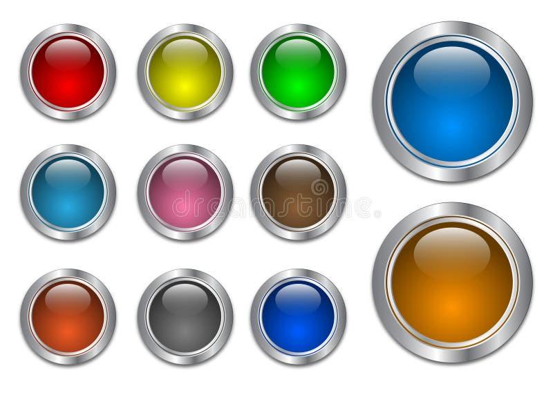 glass metallisk setrengöringsduk för blanka knappar stock illustrationer