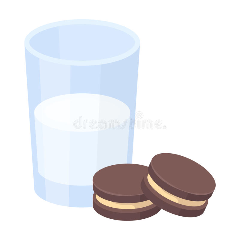 Glass of milk with cookies icon in cartoon style isolated on white background. Sleep and rest symbol stock vector royalty free illustration