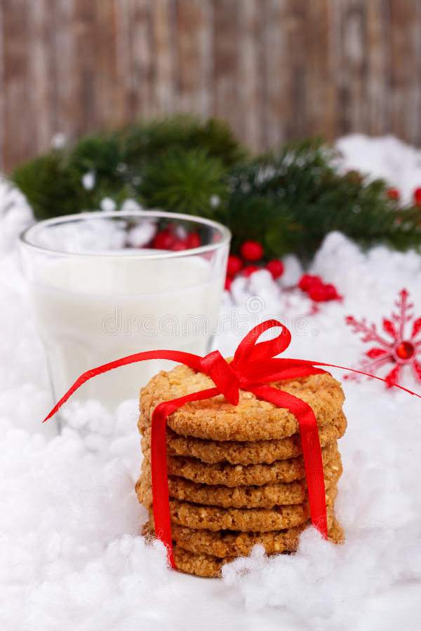 Glass of milk and cookies stock photo