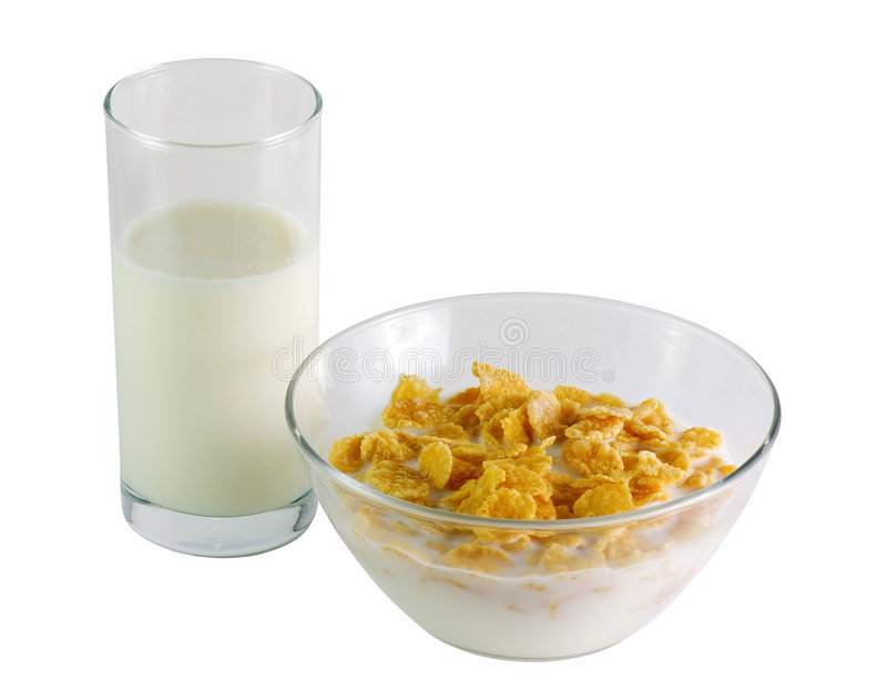 Glass of milk and corn flakes royalty free stock photo