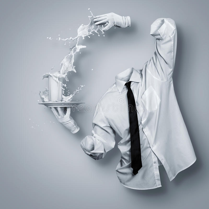 Glass of milk. Invisible man and a glass of milk royalty free illustration