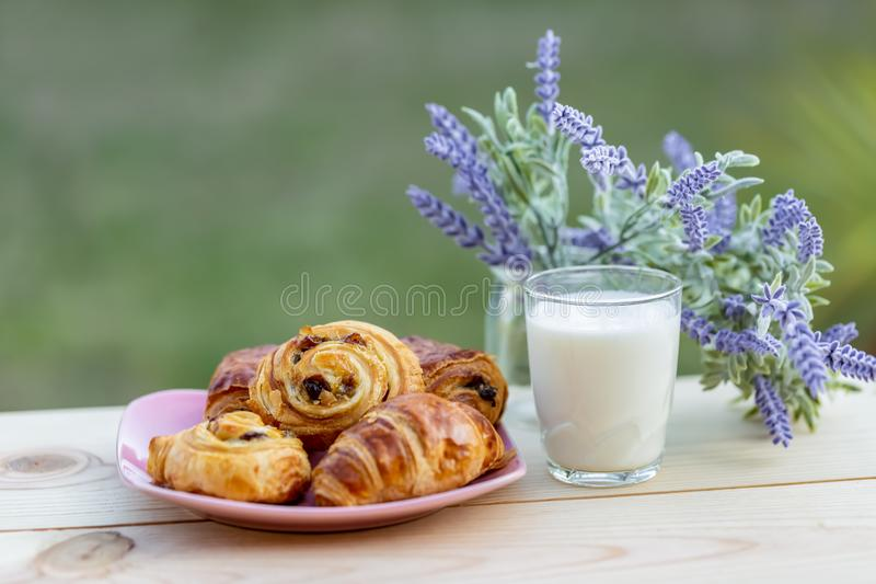 Glass of milk on a rustic table. Buns with raisins and french croissant. Bouquet of lavender. stock images