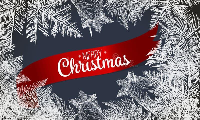 Glass modell för frost Vinterram på genomskinlig bakgrund Fyrkantig bakgrund med stället för ditt innehåll 2019 vita snöig ramar  stock illustrationer