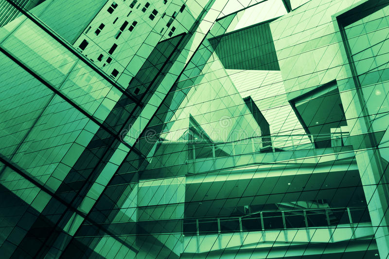 Glass of modern tower for business background royalty free stock photography