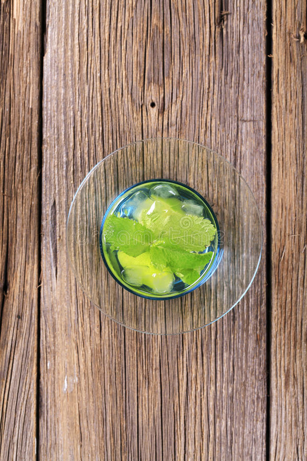 Glass of Mojito. Drink with ice - overhead royalty free stock photography