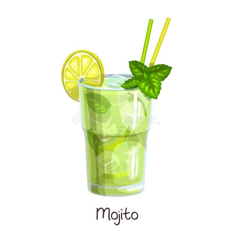 Glass mojito cocktail vector illustration